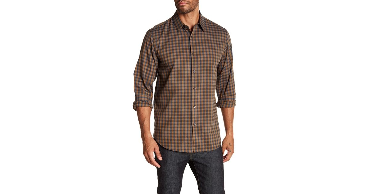 5c9d2d27 Theory Clean Tonal Slim Fit Flannel Shirt in Brown for Men - Lyst