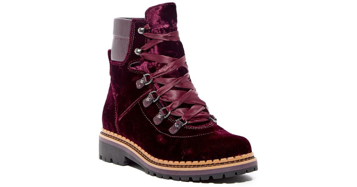 aacf2bc5481ff4 Lyst - Sam Edelman Browan Velvet Ribbon Lace-up Boot in Purple