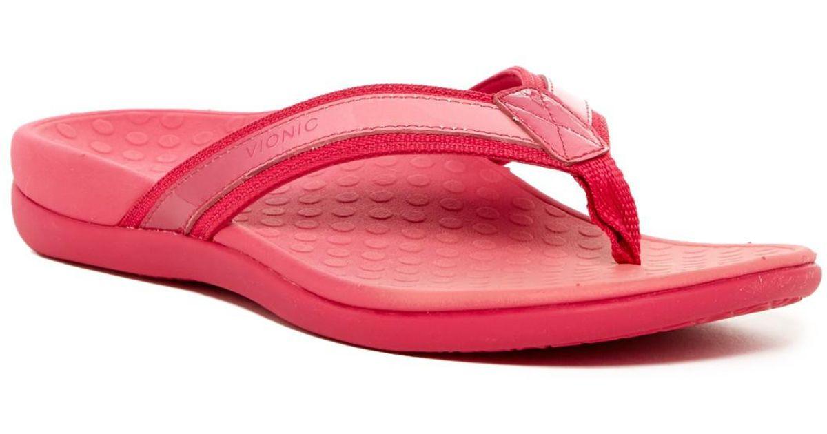 09b79eae2 Lyst - Vionic Tide Ii Orthaheel Flip Flop in Pink