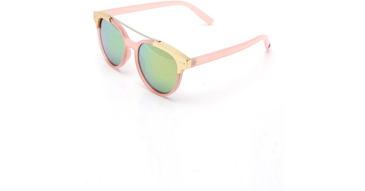 c916d5db58f Lyst - Betsey Johnson Women s Round Metal Look Top Sunglasses in Pink