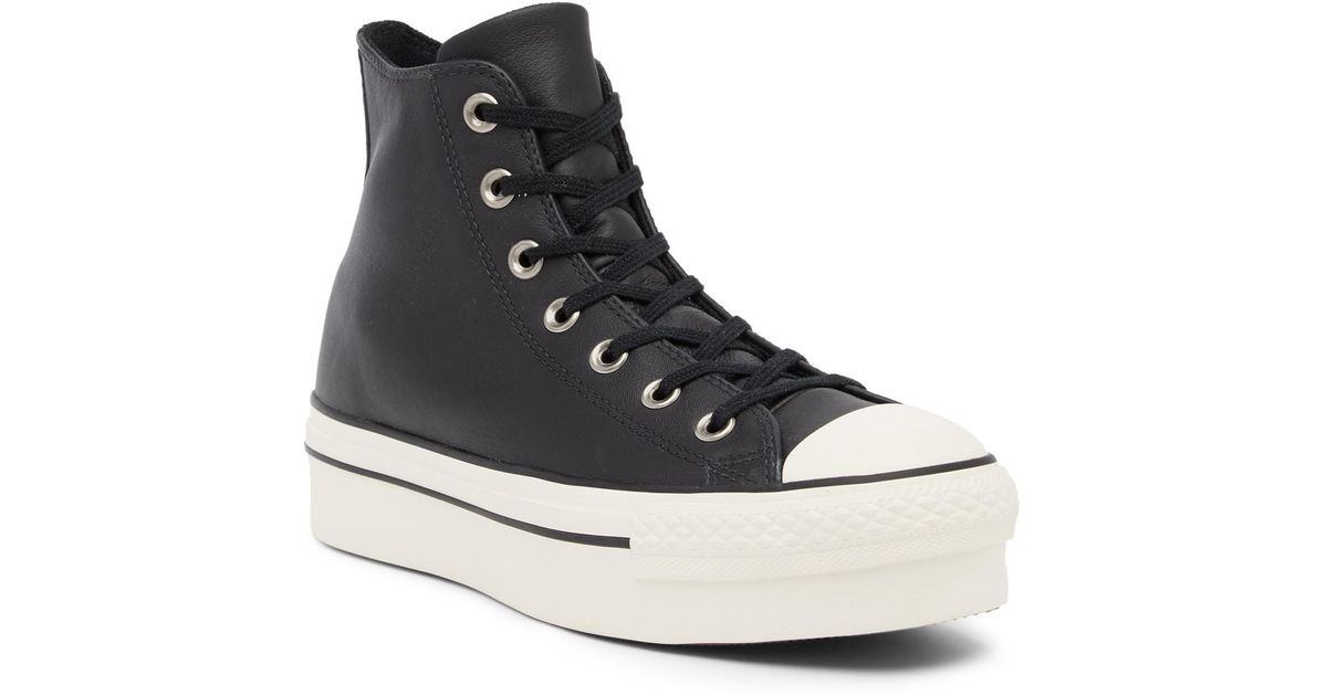 e1fe8687132b Lyst - Converse Chuck Taylor All Star Leather Platform High Top Sneaker ( women) in Black