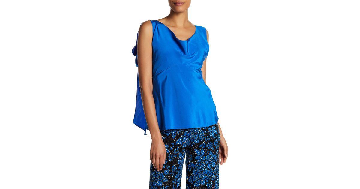 9a5208df5f307f Diane von Furstenberg Silk Shoulder Knot Top in Blue - Lyst