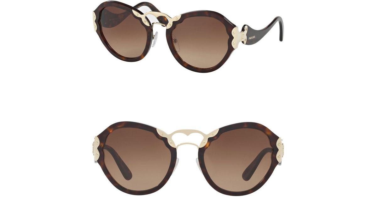 bda690fbe7a06 Prada Irregular Catwalk 54mm Sunglasses in Brown - Lyst