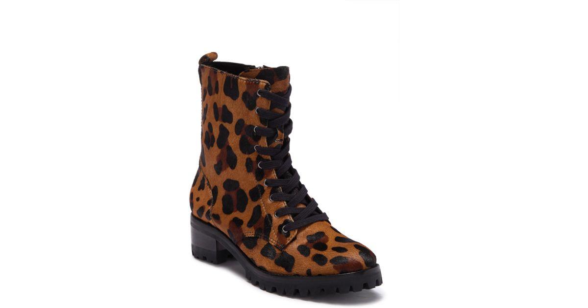 53903bbe68c3 Schutz Zumira Genuine Calf Hair Leopard Print Combat Boots in Natural - Lyst
