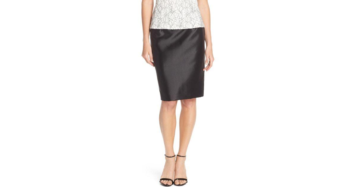 alex evenings taffeta pencil skirt in black lyst