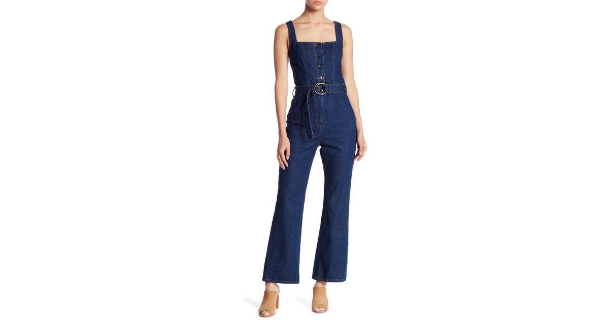 6edfaa10c9ba Lyst - Honey Punch Belted Denim Jumpsuit in Blue
