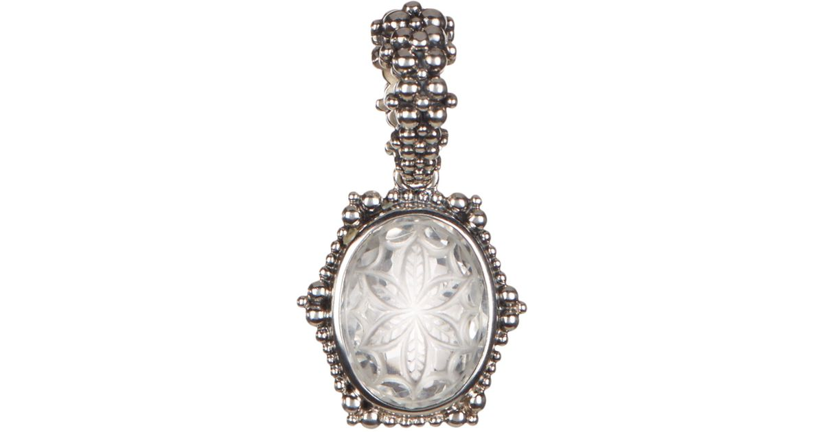 Stephen dweck sterling silver oval cut crystal carved flower halo stephen dweck sterling silver oval cut crystal carved flower halo pendant in metallic lyst aloadofball Images