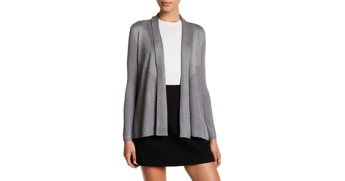 e7df1791592500 Lyst - Cable & Gauge Rib Knit Open Front Cardigan (petite) in Gray