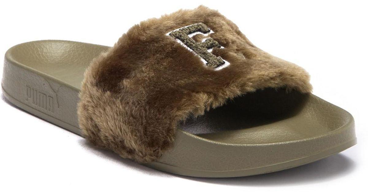 6307f045724a Lyst - Puma Fenty By Rihanna Faux Fur Leadcat Slide Sandal in Green for Men