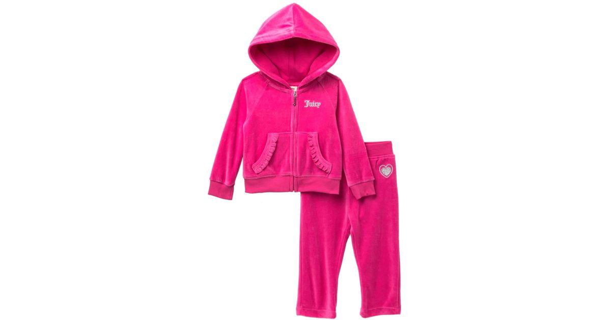 04b86e21e Lyst - Juicy Couture Fuchsia Scottie Dogs Velour Hoodie   Pants Set ...
