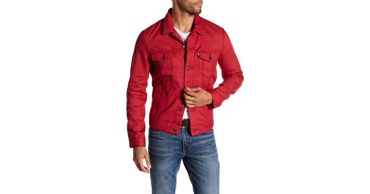 Lyst Levi S The Trucker Denim Jacket In Red For Men