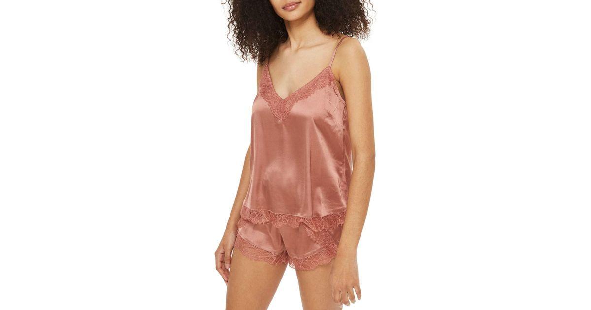 a30b16d75 Lyst - TOPSHOP Ella Lace Short Pajama Set