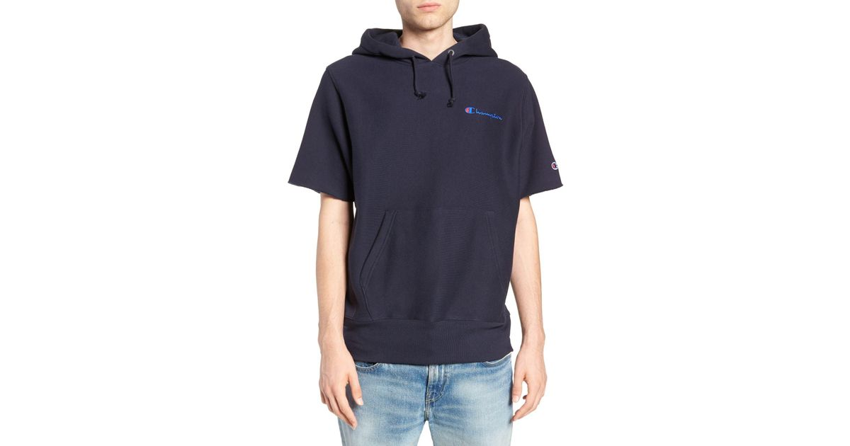 c544dd6cd2f Lyst - Champion Reverse Weave Short Sleeve Hoodie in Blue for Men