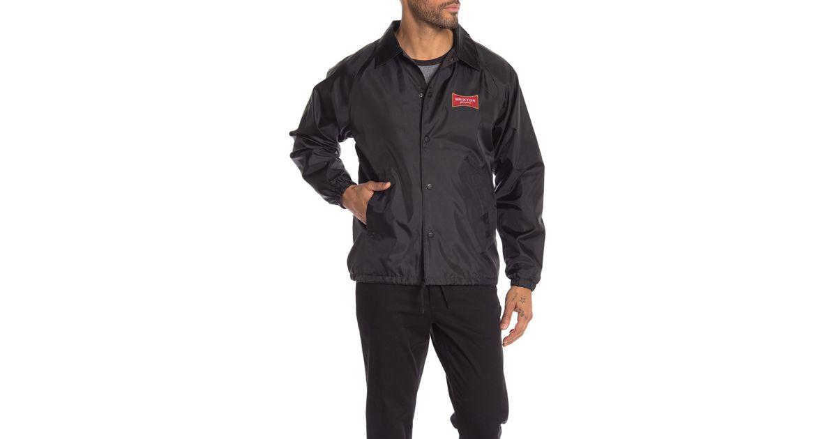 Lyst - Brixton Ramsey Logo Shell Jacket in Black for Men 219133f86e5