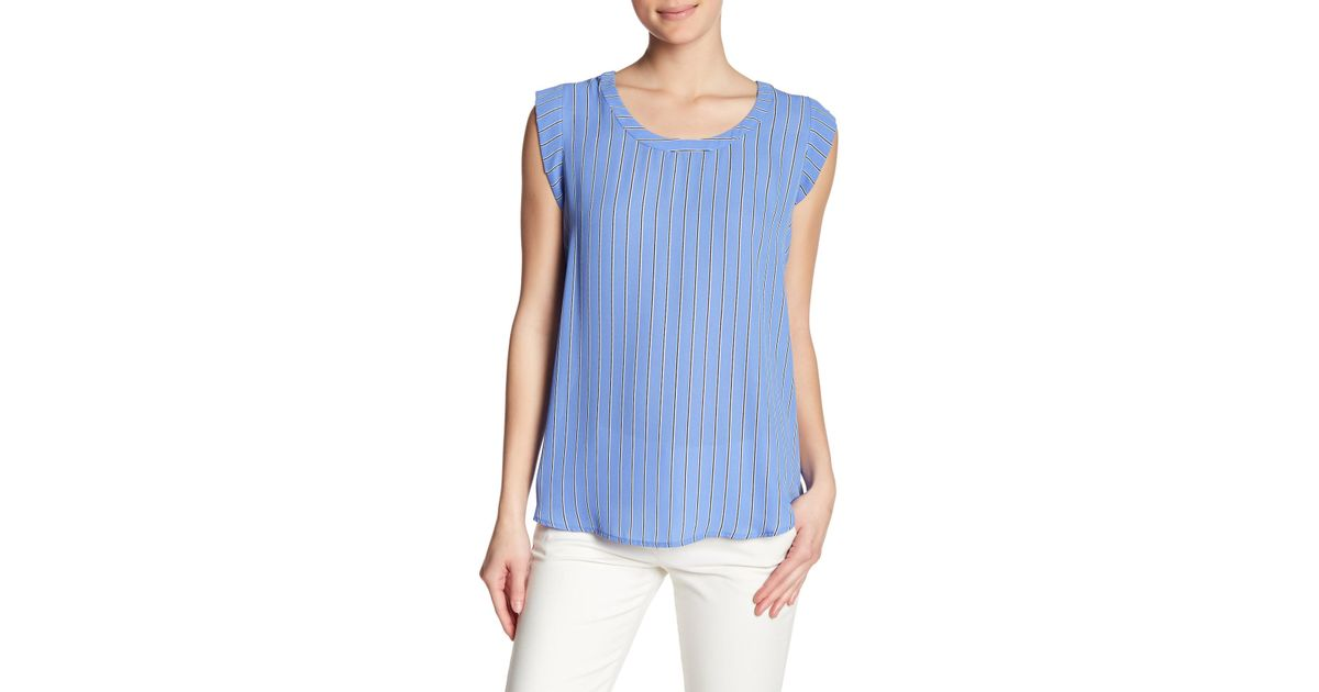 53be36e30998df Lyst - Pleione Bailey Double Pleat Blouse in Blue