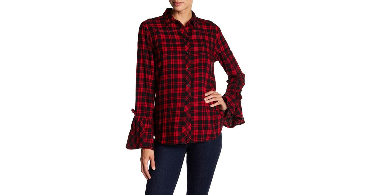24b2593d33 Beach Lunch Lounge Natalia Bell Tie Sleeve Plaid Print Flannel Shirt in Red  - Lyst