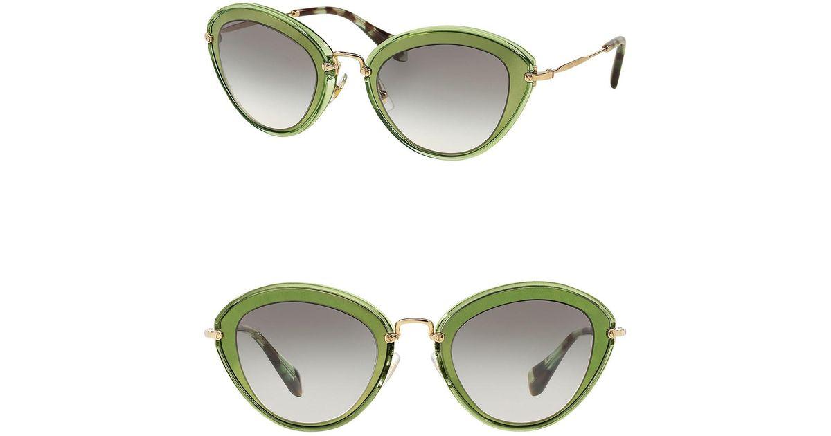 bac74ff7db Lyst - Miu Miu Women s Steel 52mm Cat Eye Sunglasses in Green
