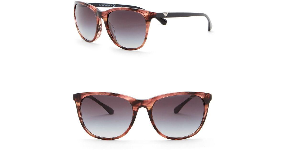 34803ece5a9f Lyst - Emporio Armani 54mm Wayfarer Acetate Frame Sunglasses in Pink