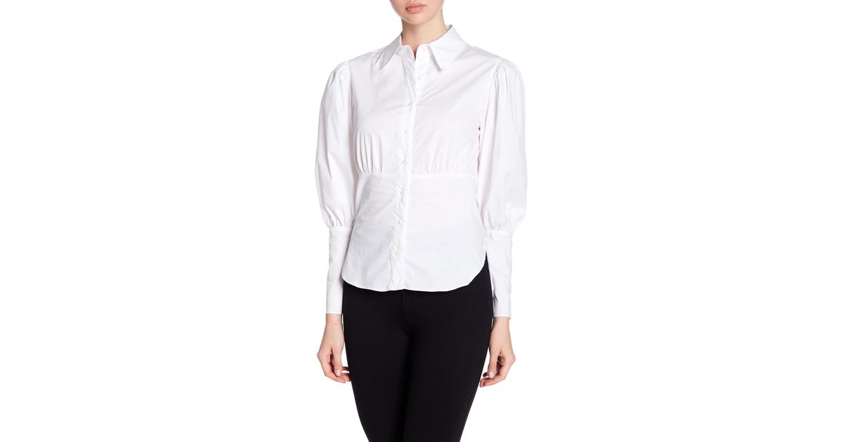 a52825c0 Nicole Miller Puff Sleeve Button Down Shirt in White - Lyst