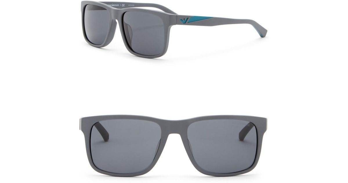 7a3f3dc26a9e Lyst - Emporio Armani 56mm Wayfarer Acetate Frame Sunglasses in Gray for Men