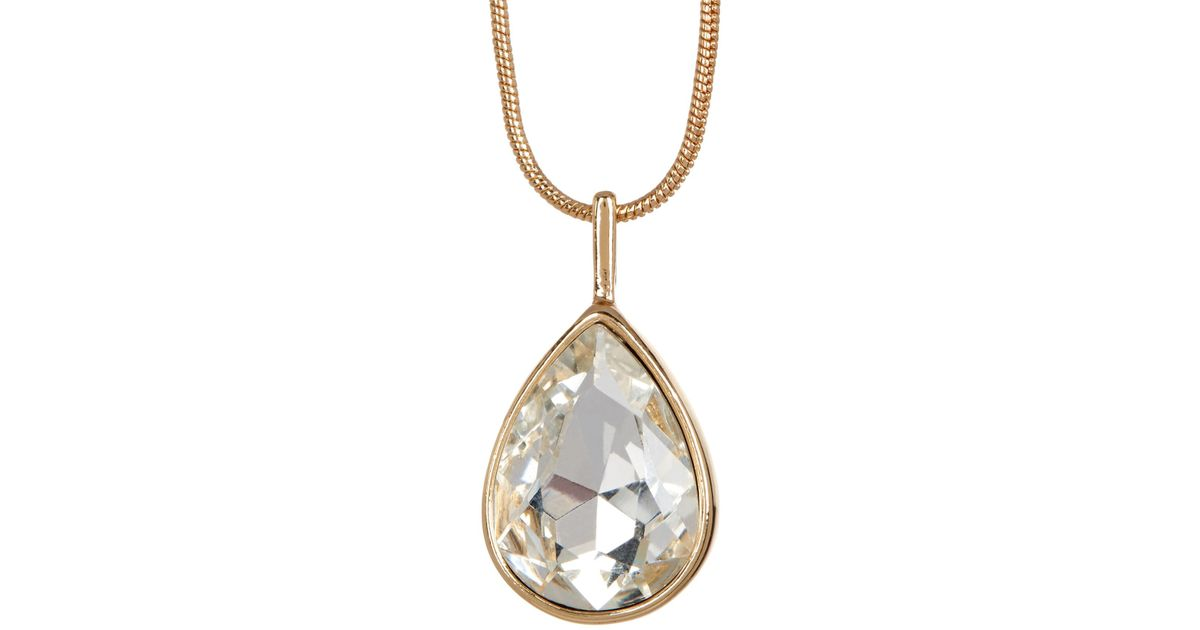 Lyst joe fresh teardrop crystal pendant necklace in metallic aloadofball Gallery