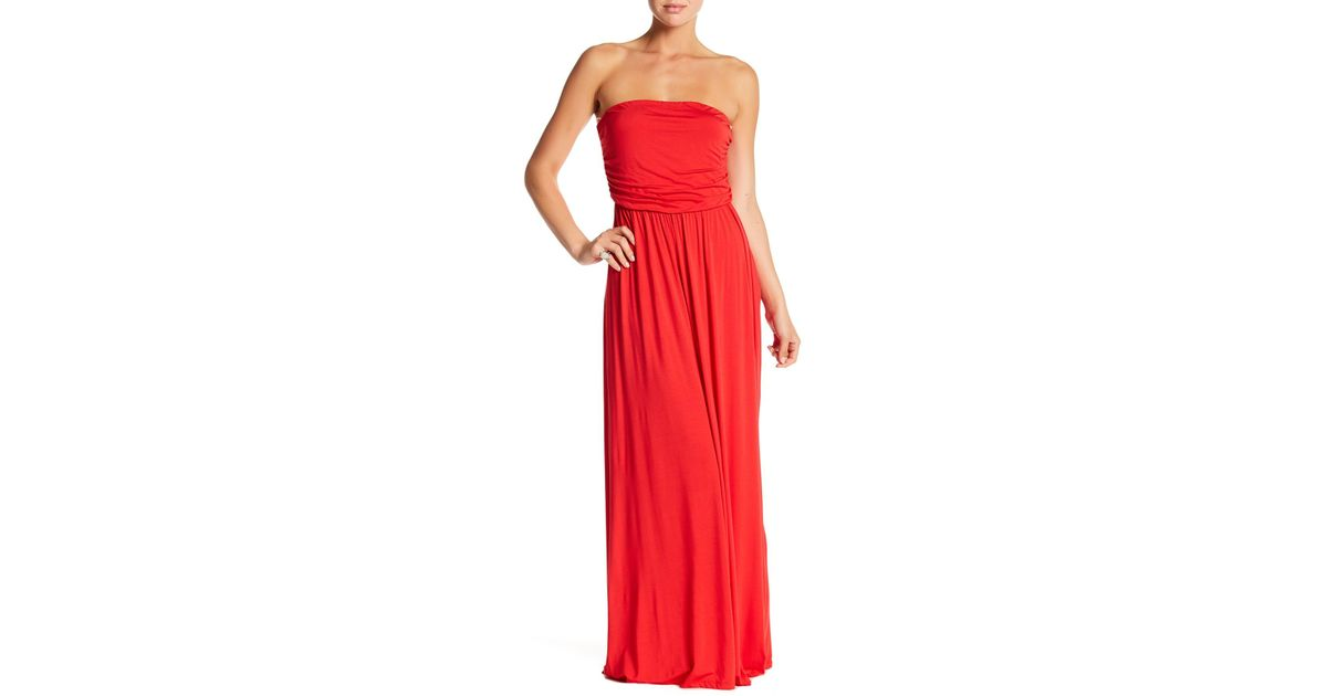 a56e7346692 Lyst - West Kei Strapless Knit Maxi Dress in Red