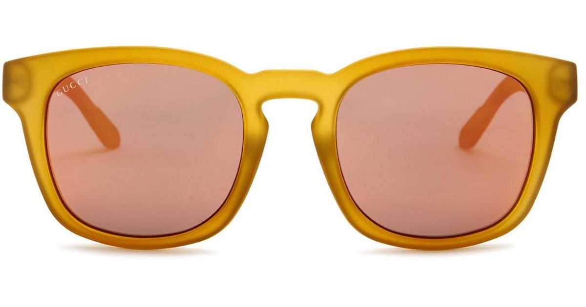 5839e842e Lyst - Gucci 55mm Square Sunglasses in Yellow for Men