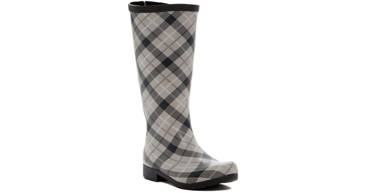 27d00aa62b3d Lyst - Chooka Flex Fit Elastic Plaid Tall Waterproof Rain Boot - Wide Calf  Fit in Gray