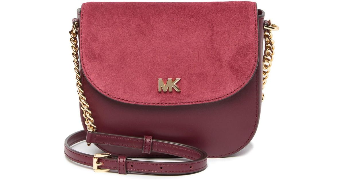 4c5e77aaf453 Michael Kors Mott Leather And Suede Saddle Bag - Lyst