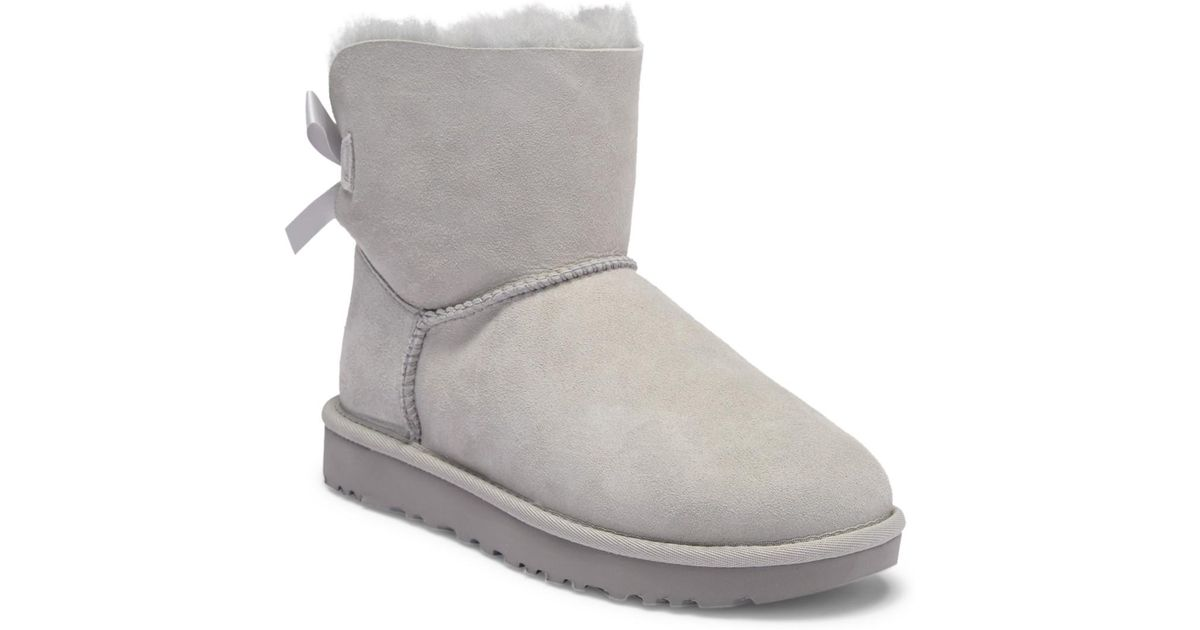 24751a6a234 Ugg - Gray Mini Bailey Bow Ii Genuine Shearling Suede Boot - Lyst