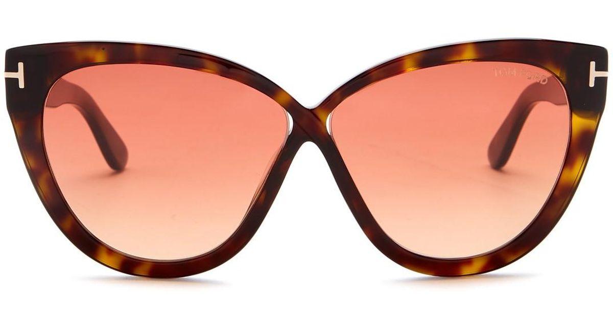 2e3869672f5 Tom Ford - Brown Arabella Cat-eye 59mm Sunglasses - Lyst