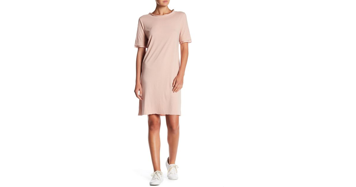 7d5946f69b7 Lyst - Project Social T Doe Linen-blend T-shirt Dress in Pink