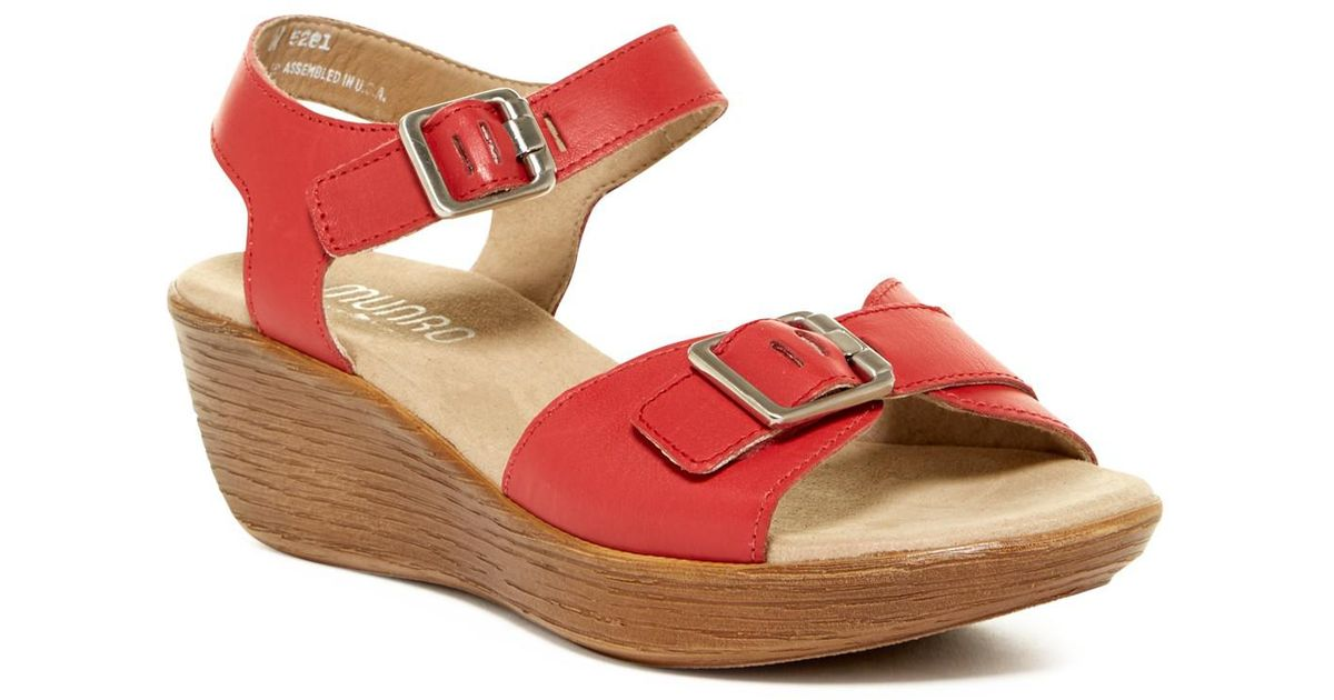 ecf8f5d03d35 Lyst - Munro Marci Quarter Strap Wedge Sandal - Multiple Widths Available  in Red