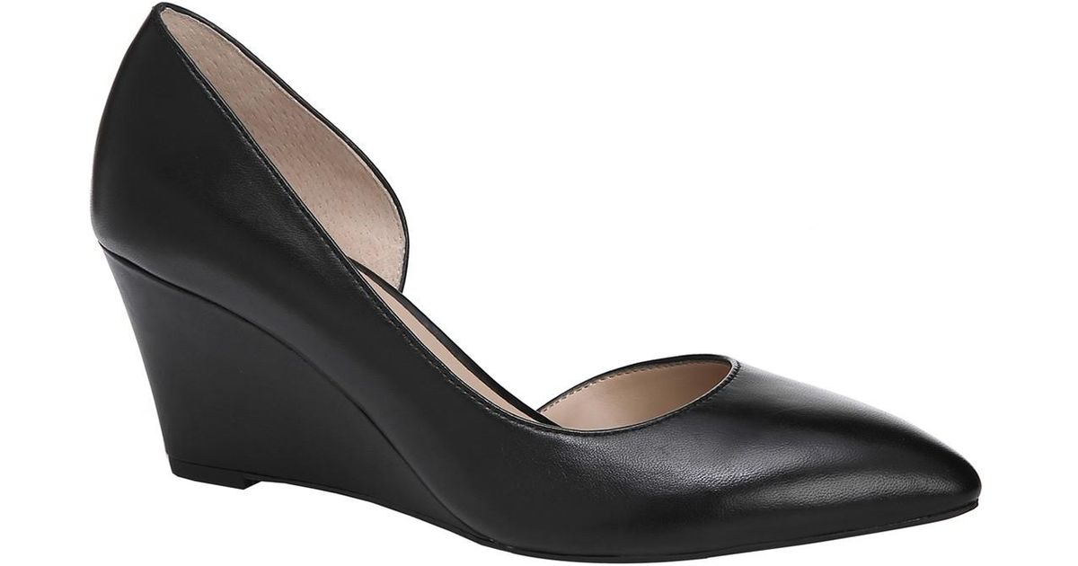 99ed9c35845 Lyst - Franco Sarto Felice Leather D orsay Wedge Pump - Wide Width Available  in Black