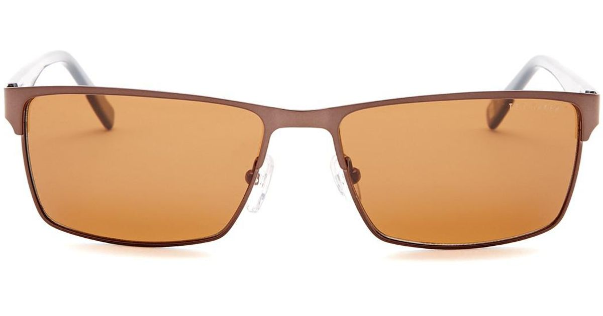 b43d37eb48 Lyst - Ted Baker Men s 56mm Square Polarized Sunglasses in Brown for Men