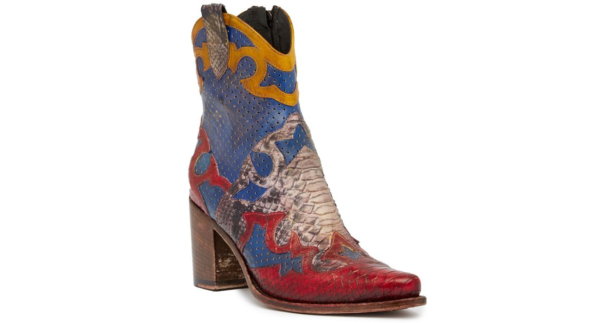 Jo Ghost Peep Toe Python Printed Leather Texan Bootie NM9FA1pi