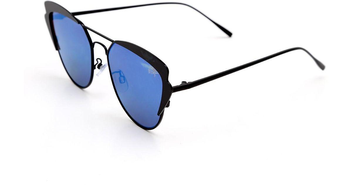 346c6327cab Lyst - Betsey Johnson Women s Metal Cat Eye Flat Mirrored Lens Sunglasses  in Blue