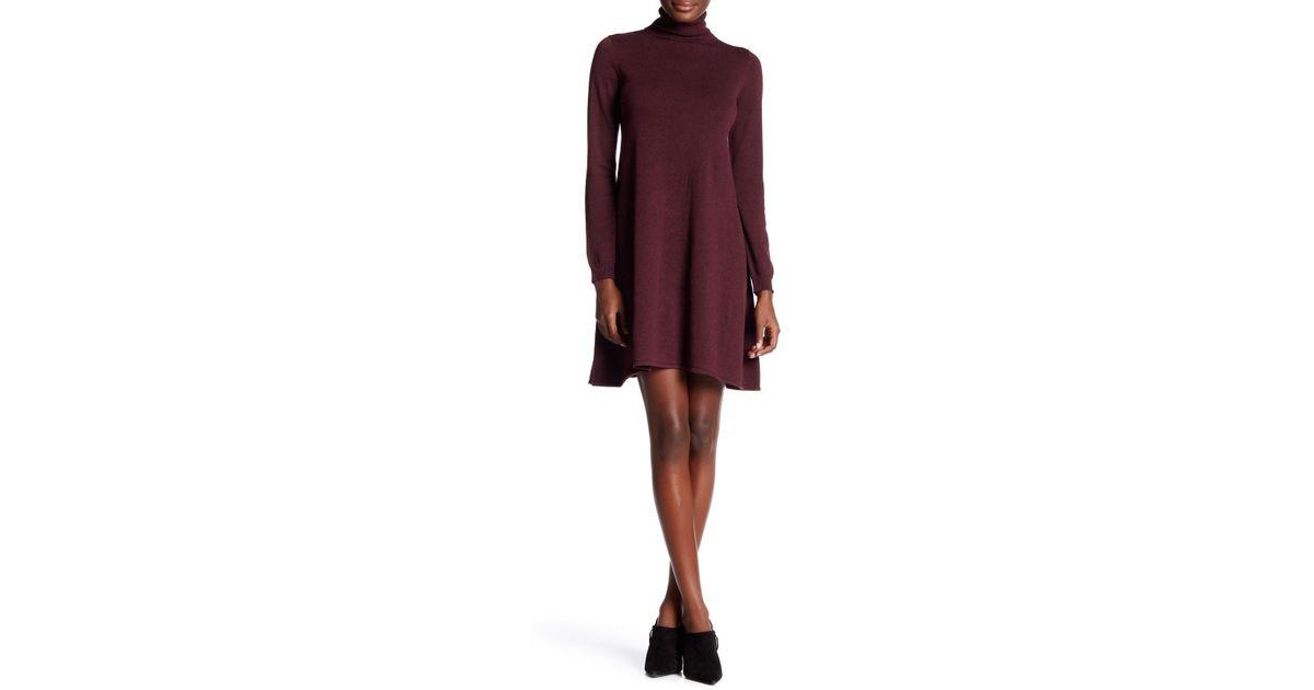915539271de Lyst - Max Studio Turtleneck Long Sleeve Sweater Dress in Purple