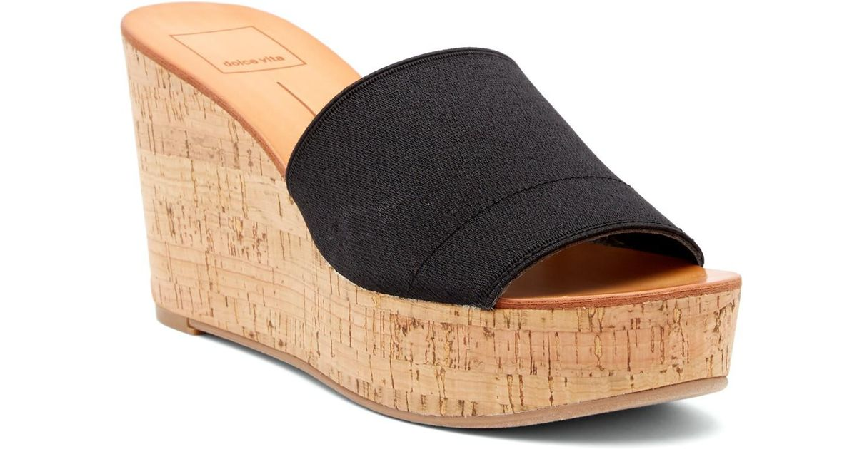 f67e8d7de07 Lyst - Dolce Vita Barkley Cork Wedge Sandal in Black