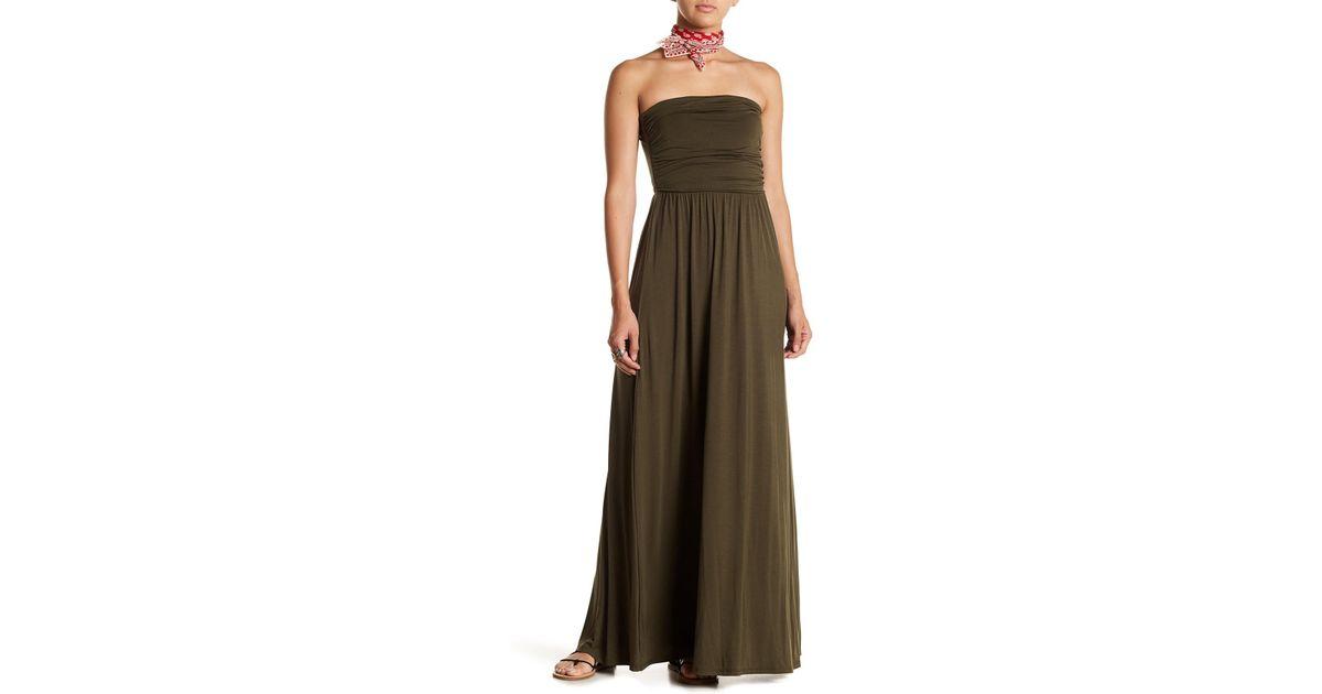 b4534780274 West Kei Strapless Maxi Dress in Green - Lyst