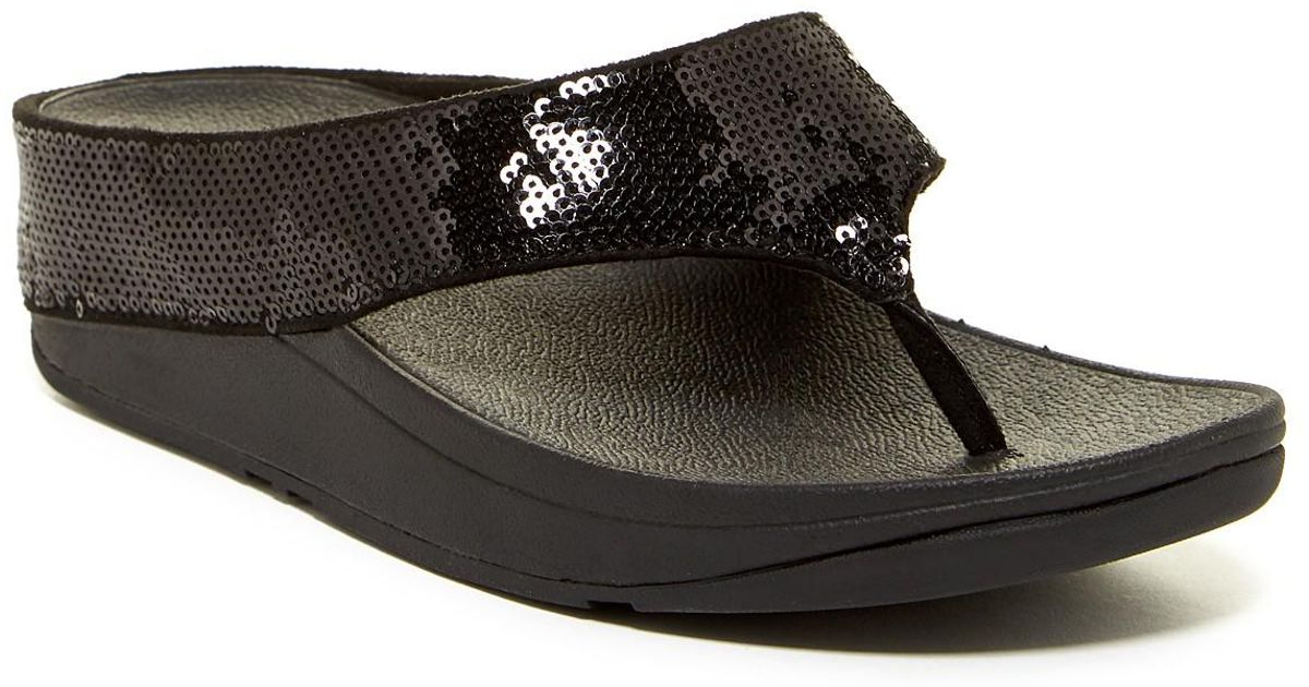 a0eded60b8d65b Lyst - Fitflop Ringer Sequined Wedge Flip Flop in Black