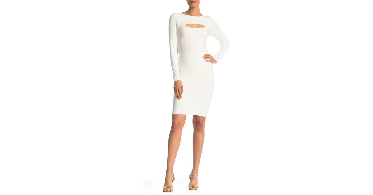 ee45f1a1feb2 Lyst - Bebe Bandage Stripe Bodycon Dress in White