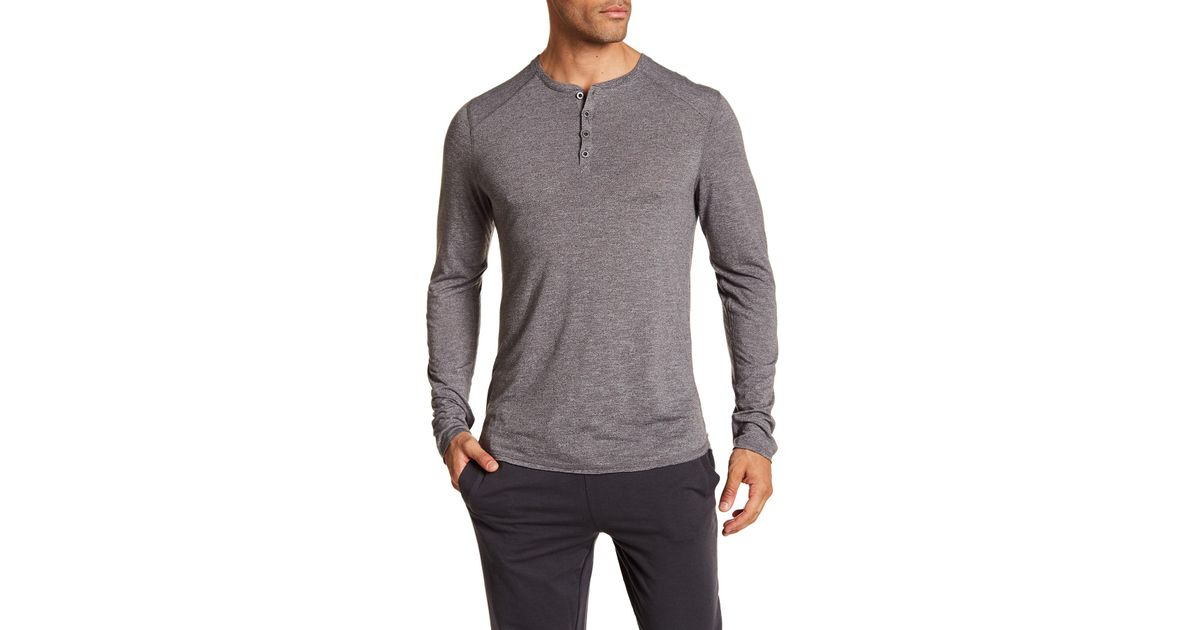 16dfff5d Bread & Boxers Long Sleeve Henley Shirt in Gray for Men - Lyst