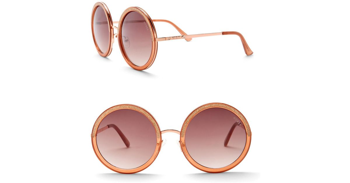 aa3f658ad925 Guess Women s Round 57mm Sunglasses - Lyst
