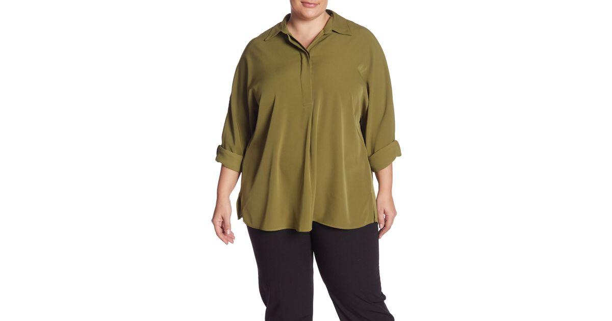 51910f1f226b8 Lyst - Catherine Malandrino Drop Shoulder Sleeve Boyfriend Blouse (plus Size)  in Green