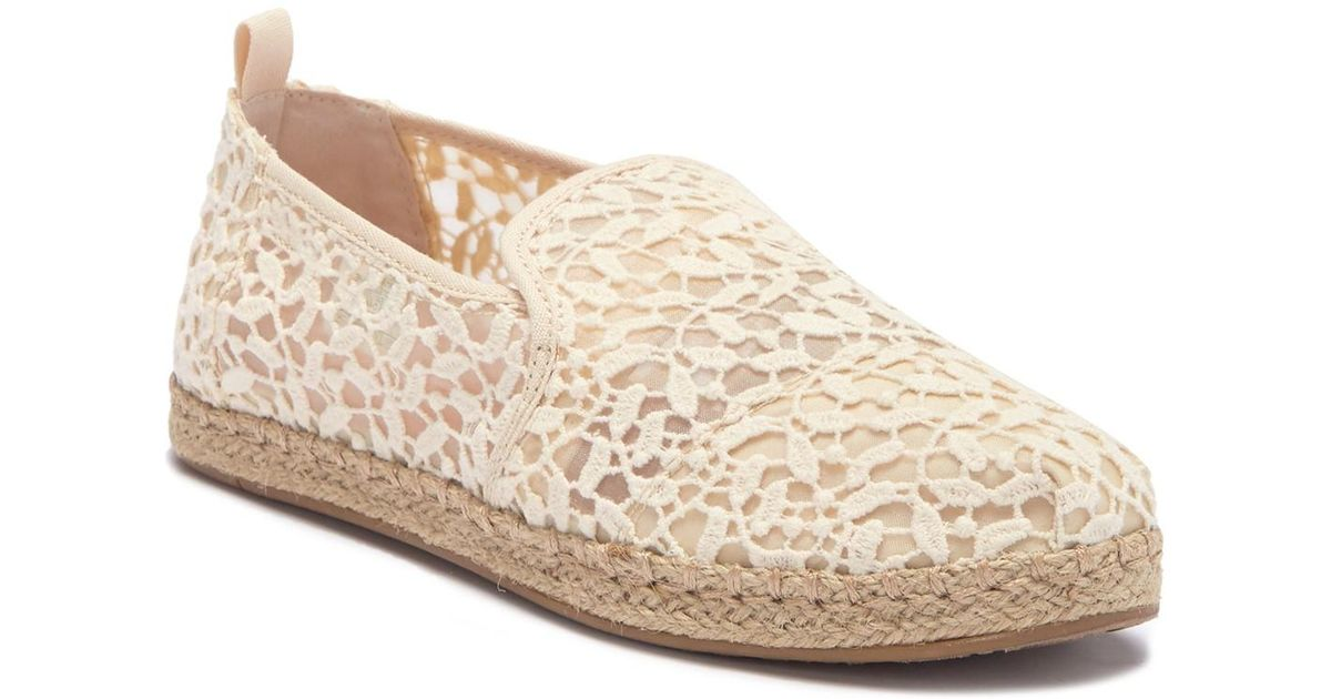 a9ea66f6151 Lyst - TOMS Floral Lace Deconstructed Alpargata Slip-on Espadrille Sneaker  in Natural