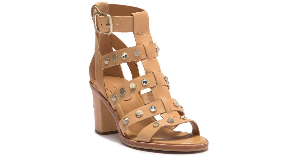 fe6838c8e Lyst - UGG Macayla Studded Bling Block Heel Sandal in Brown