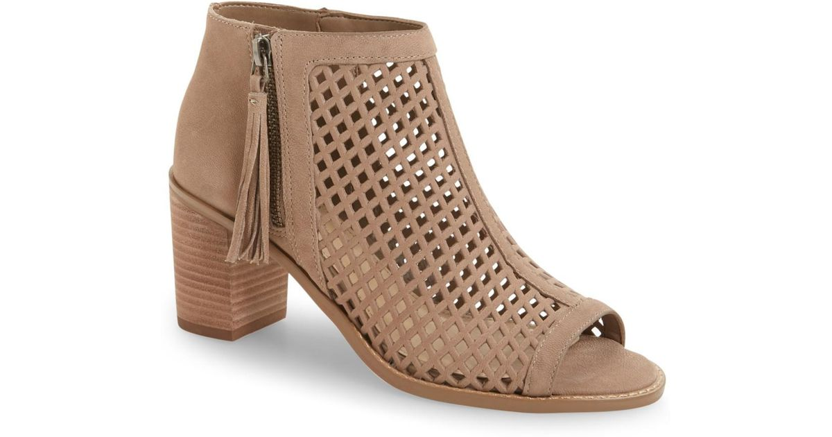 42e6b3c57994 Lyst - Vince Camuto Tresin Perforated Open-toe Bootie in Brown