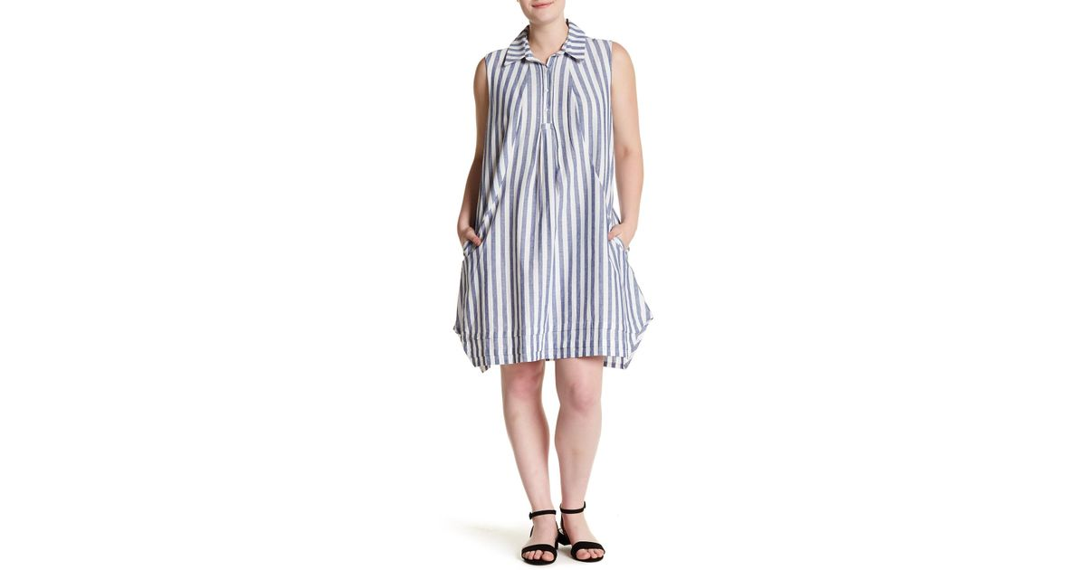 Lyst Sharagano Striped Chambray Dress Plus Size In Blue