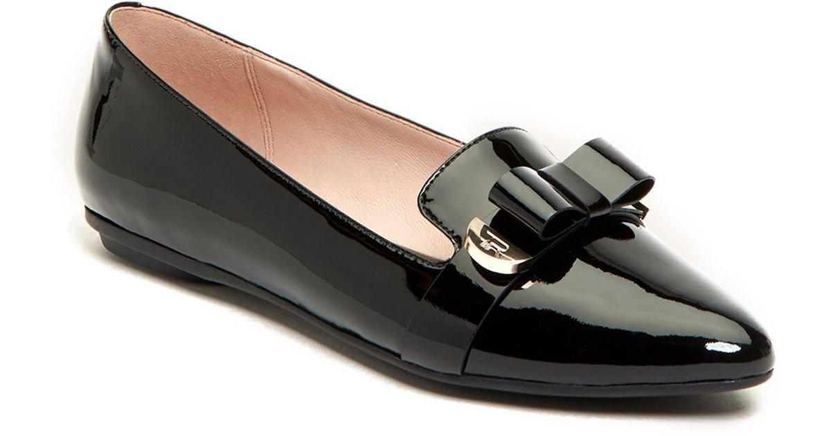 TARYN ROSE COLLECTION Edith Bow Leather Flat RATerPf